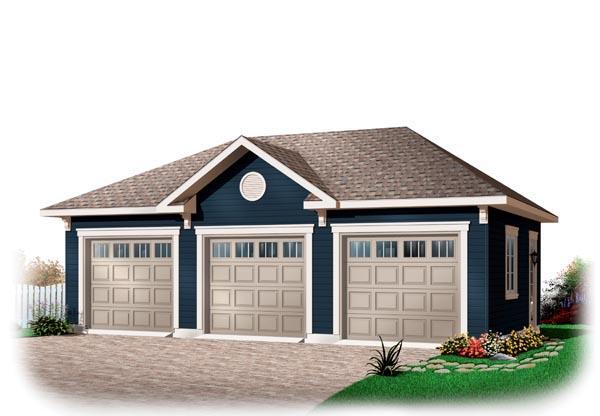 3 Car Garage Plan 76153 Front Elevation