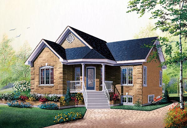 Bungalow, Traditional House Plan 76156 with 2 Beds, 1 Baths Front Elevation