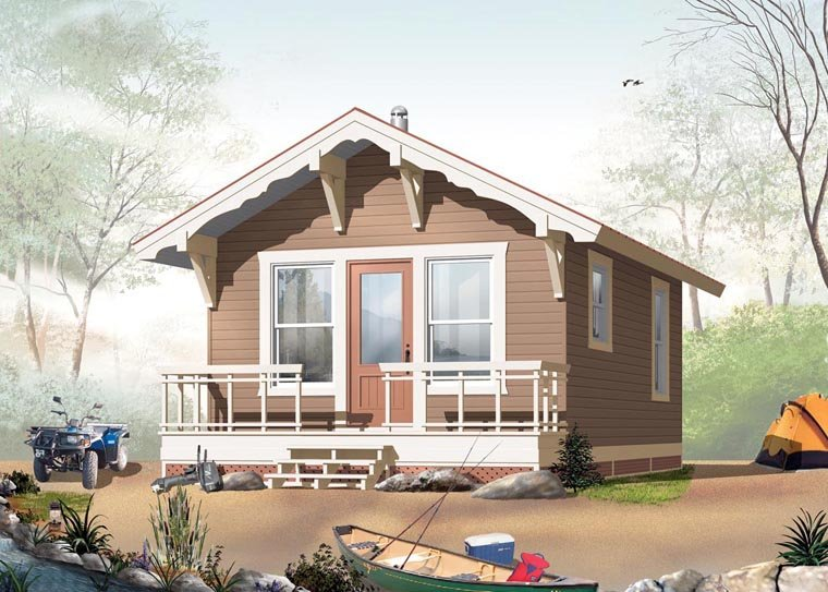 Cabin House Plan 76164 with 1 Beds, 1 Baths Front Elevation