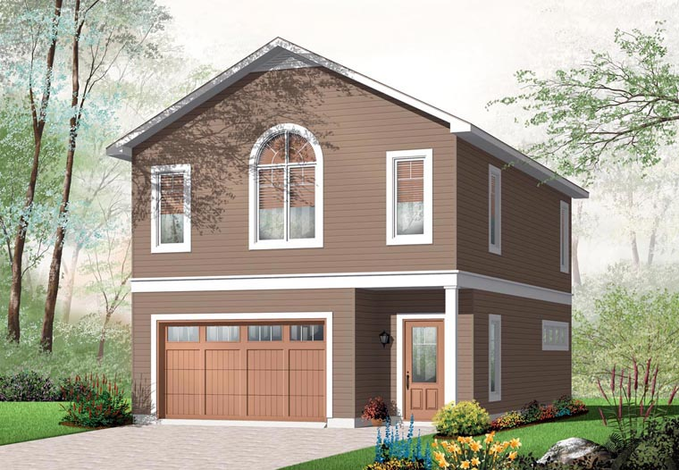2 Car Garage Apartment Plan 76227 with 1 Beds, 1 Baths Front Elevation