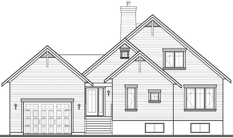 Coastal, Country House Plan 76238 with 3 Beds, 2 Baths, 1 Car Garage Rear Elevation