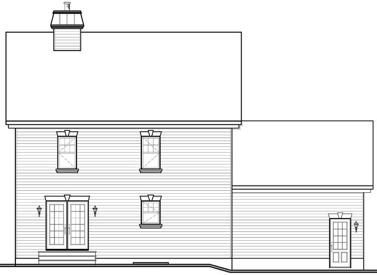 Colonial, Traditional House Plan 76279 with 3 Beds, 3 Baths, 2 Car Garage Rear Elevation