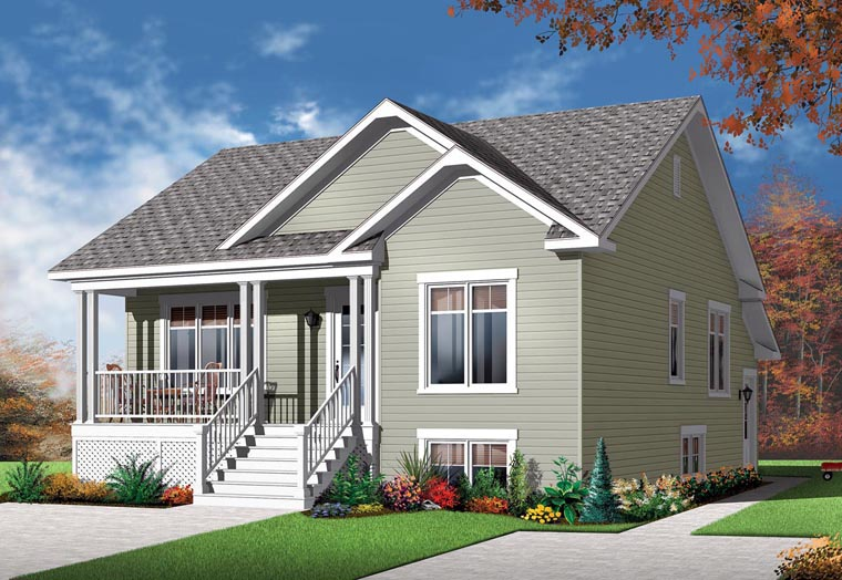 Country Multi-Family Plan 76283 with 4 Beds, 2 Baths Front Elevation