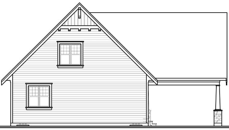 Cottage, Country, Craftsman House Plan 76308 with 3 Beds, 2 Baths, 1 Car Garage Rear Elevation