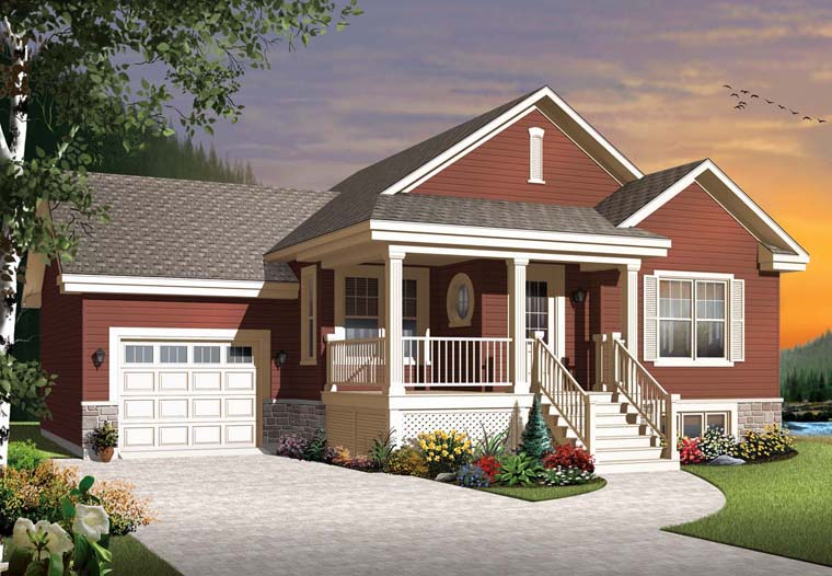 Country, Craftsman House Plan 76314 with 2 Beds, 1 Baths, 1 Car Garage Elevation