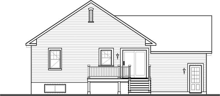 Country, Craftsman House Plan 76314 with 2 Beds, 1 Baths, 1 Car Garage Rear Elevation