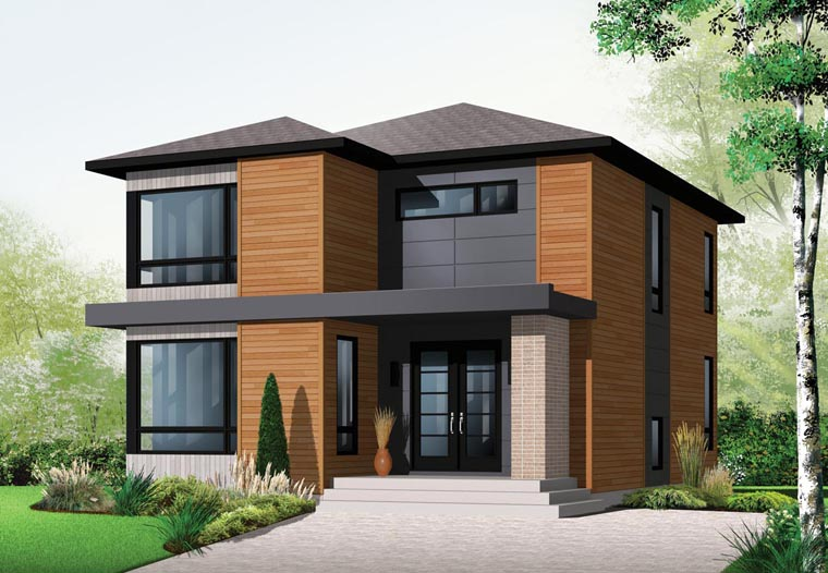 Contemporary, Modern House Plan 76317 with 3 Beds, 2 Baths Elevation