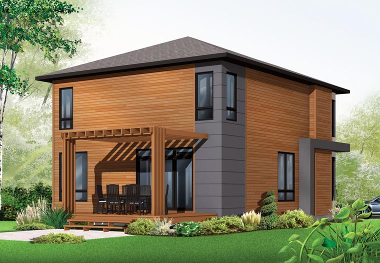 Contemporary, Modern House Plan 76317 with 3 Beds, 2 Baths Rear Elevation