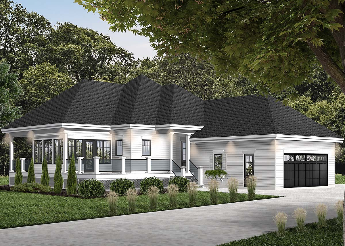 Cottage House Plan 76335 with 2 Beds, 2 Baths, 2 Car Garage Elevation