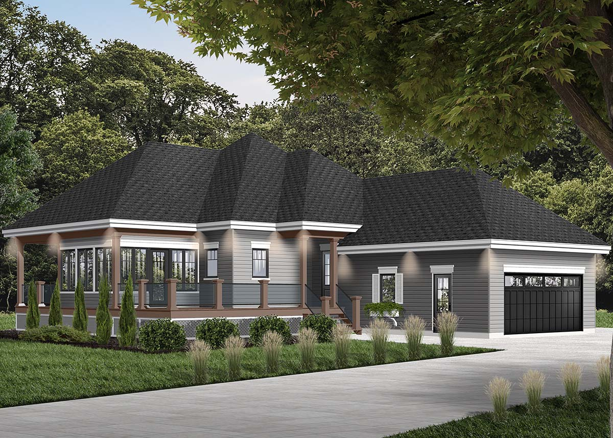 Cottage House Plan 76335 with 2 Beds, 2 Baths, 2 Car Garage Picture 1