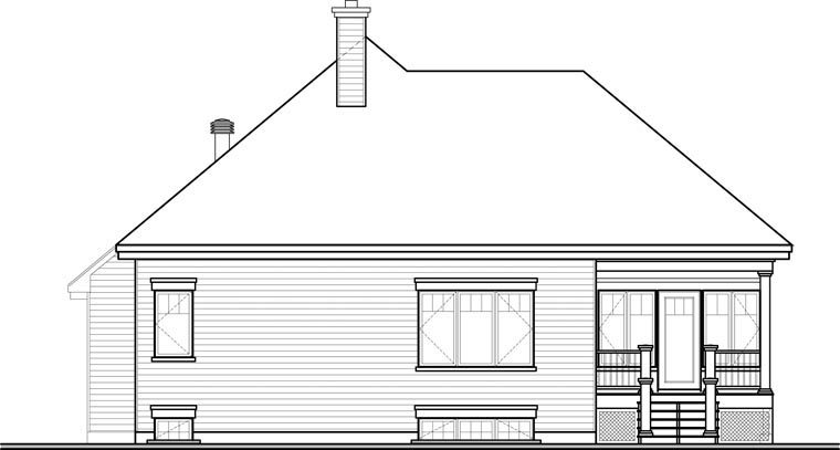 Cottage House Plan 76335 with 2 Beds, 2 Baths, 2 Car Garage Rear Elevation
