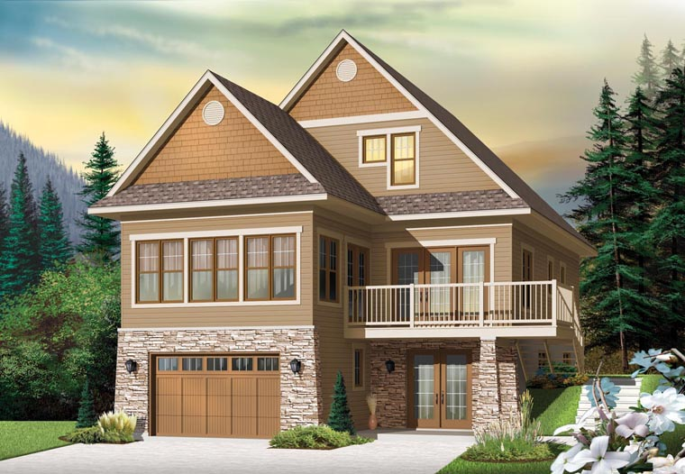 Country, Craftsman House Plan 76341 with 4 Beds, 4 Baths, 1 Car Garage Elevation
