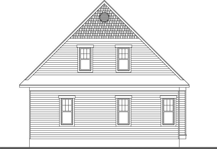 Country, Craftsman House Plan 76341 with 4 Beds, 4 Baths, 1 Car Garage Rear Elevation