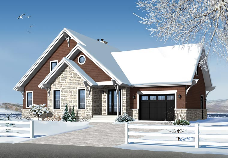Cottage, Craftsman House Plan 76342 with 3 Beds, 3 Baths, 1 Car Garage Picture 1