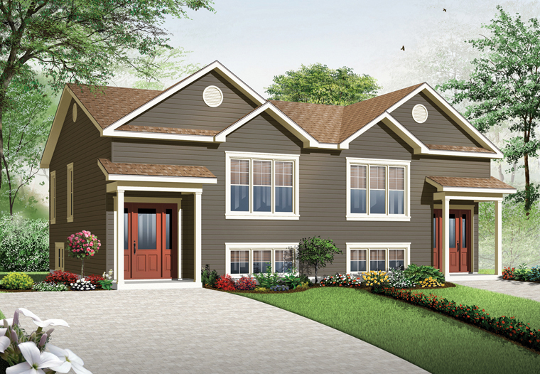 Country Multi-Family Plan 76379 with 5 Beds, 4 Baths Front Elevation