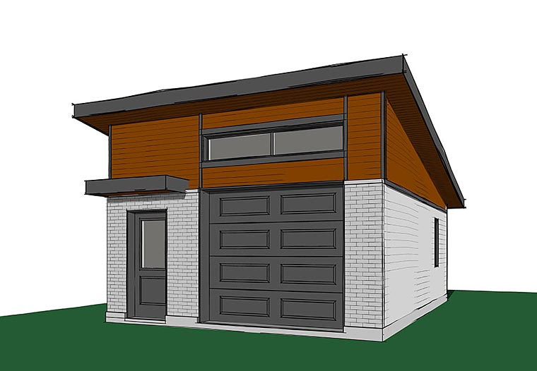 Contemporary, Modern 1 Car Garage Plan 76401 Elevation