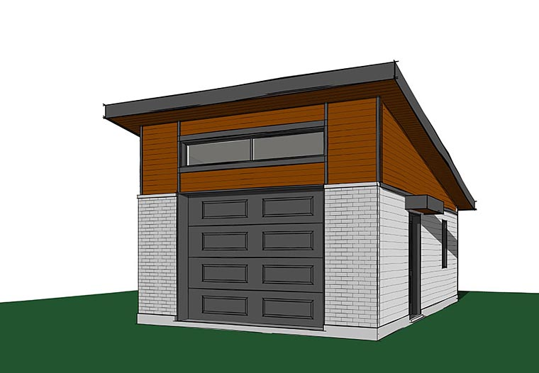 Contemporary, Modern 1 Car Garage Plan 76402 Elevation