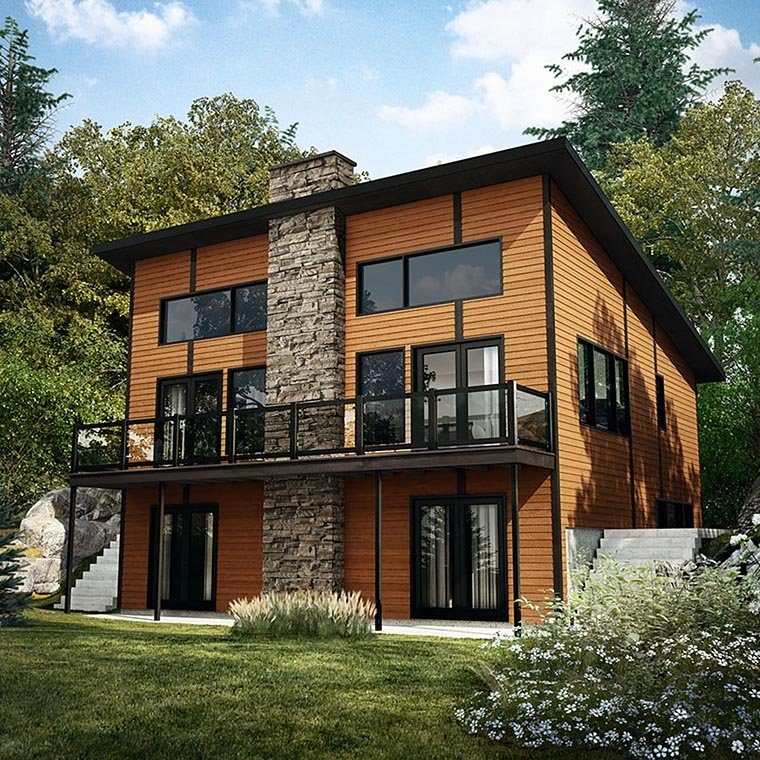 Contemporary, Modern House Plan 76404 with 3 Beds, 2 Baths Elevation