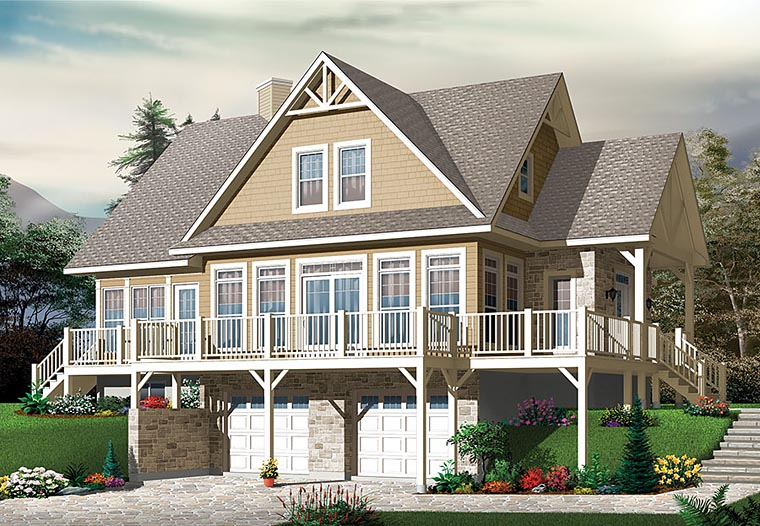 Coastal, Contemporary, Country, Traditional House Plan 76410 with 4 Beds, 3 Baths, 2 Car Garage Elevation