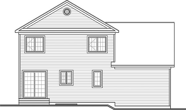 Colonial, Country, Traditional House Plan 76424 with 3 Beds, 3 Baths, 1 Car Garage Rear Elevation