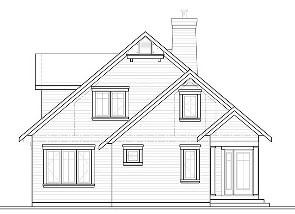Cottage, Southern, Traditional House Plan 76452 with 4 Beds, 3 Baths Rear Elevation