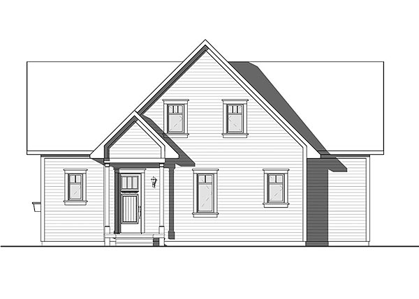 Bungalow, Cottage, Country, Traditional House Plan 76453 with 4 Beds, 3 Baths Rear Elevation