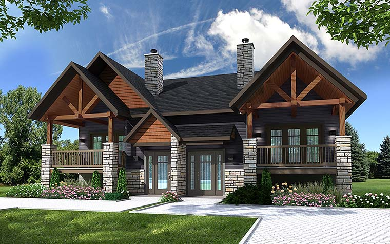 Country, Craftsman Multi-Family Plan 76466 Elevation