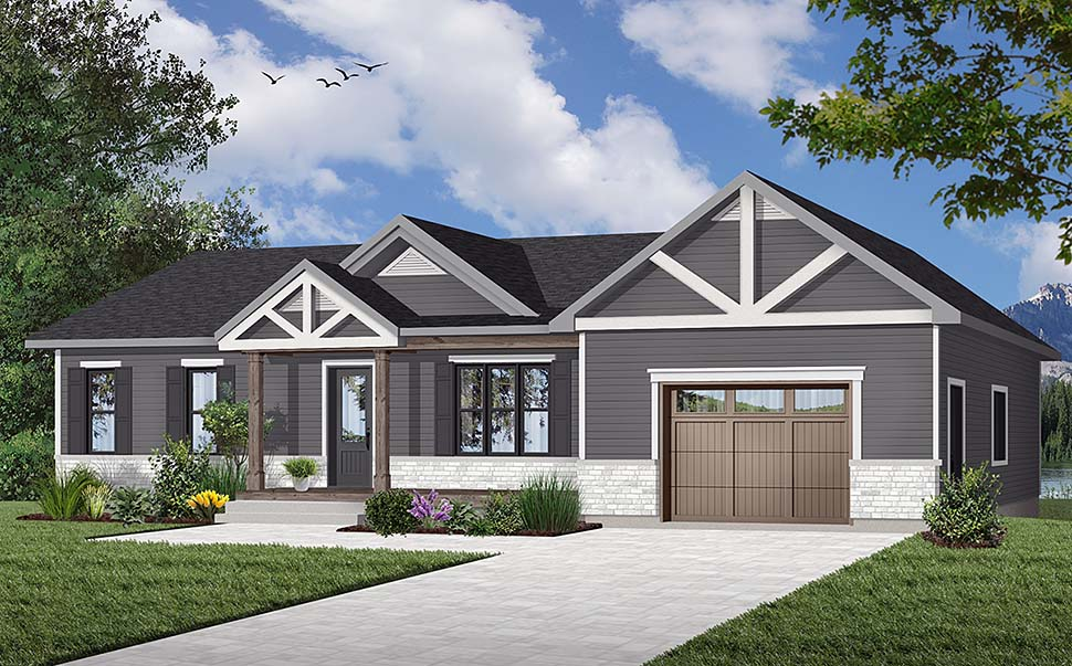 Bungalow, Craftsman, Ranch, Traditional House Plan 76467 with 2 Beds, 2 Baths, 1 Car Garage Front Elevation
