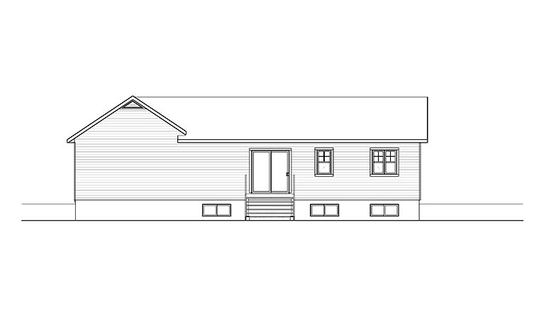 Bungalow, Craftsman, Ranch, Traditional House Plan 76467 with 2 Beds, 2 Baths, 1 Car Garage Rear Elevation