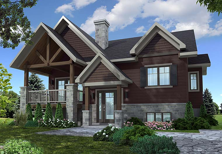 Contemporary, Country, Craftsman House Plan 76468 with 2 Beds, 1 Baths Elevation