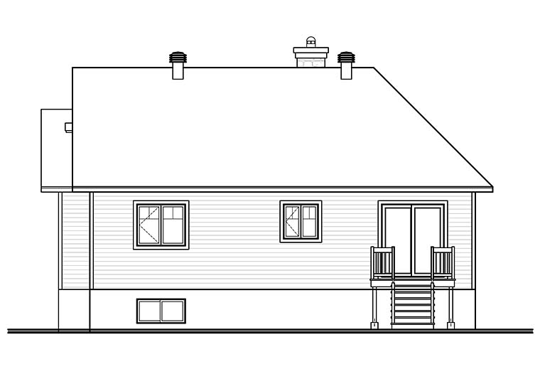 Contemporary, Country, Craftsman House Plan 76468 with 2 Beds, 1 Baths Rear Elevation