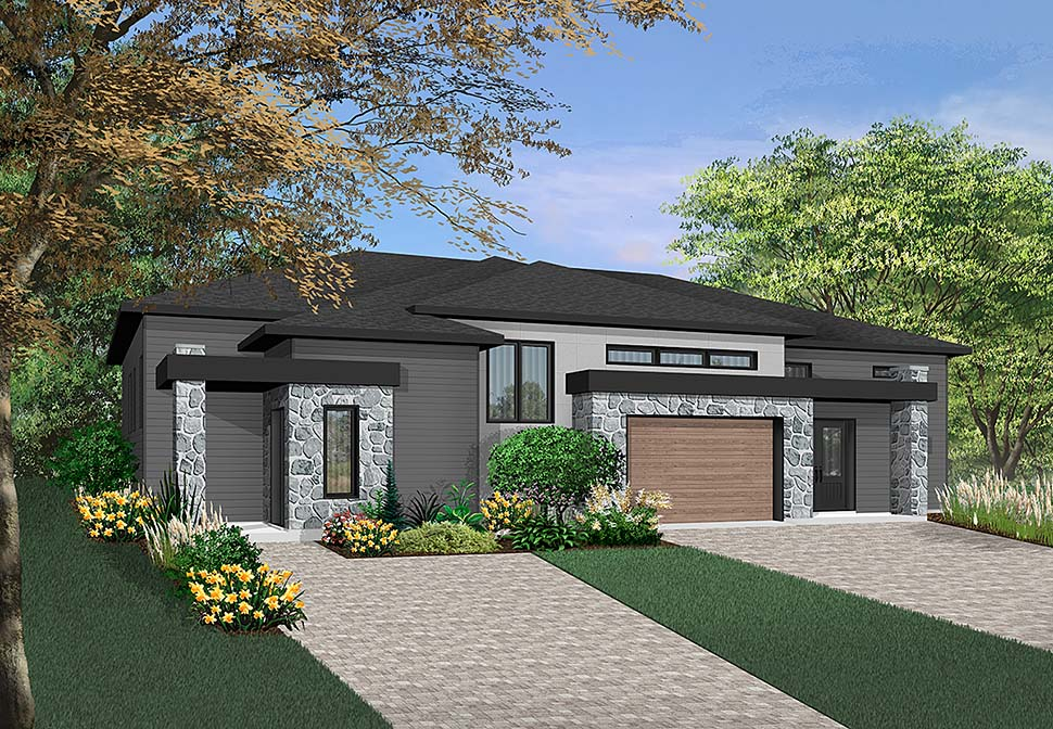 Contemporary Multi-Family Plan 76475 with 8 Beds, 4 Baths, 1 Car Garage Elevation