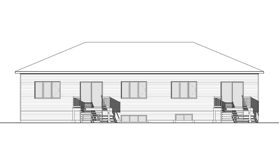 Contemporary Multi-Family Plan 76475 with 8 Beds, 4 Baths, 1 Car Garage Rear Elevation