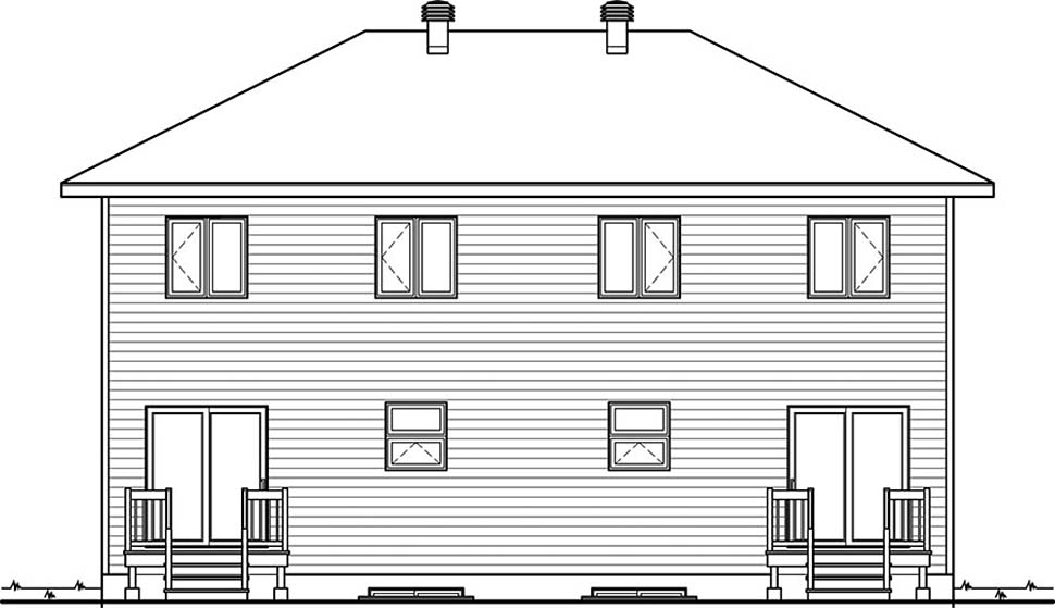 Contemporary, Modern Multi-Family Plan 76476 Rear Elevation