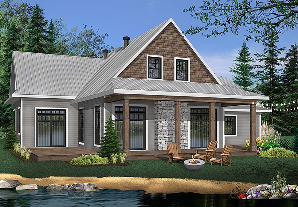 Cabin, Cottage, Country House Plan 76505 with 3 Beds, 3 Baths, 2 Car Garage Elevation