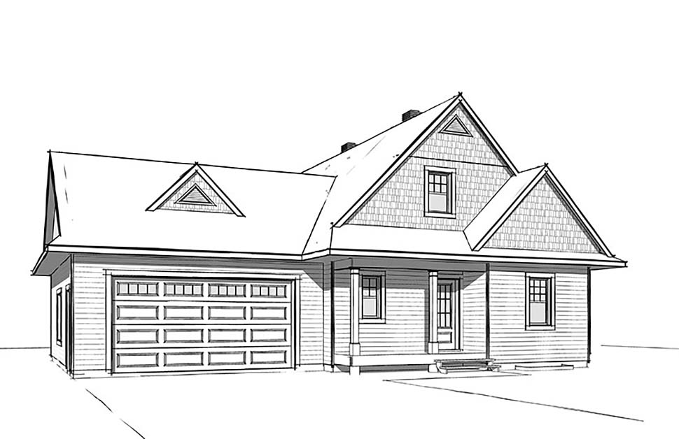Cabin, Cottage, Country House Plan 76505 with 3 Beds, 3 Baths, 2 Car Garage Rear Elevation