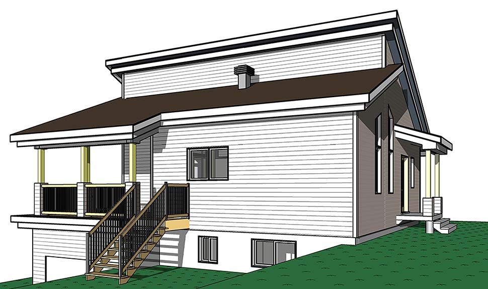 Contemporary, Cottage, Modern House Plan 76526 with 3 Beds, 2 Baths Picture 1