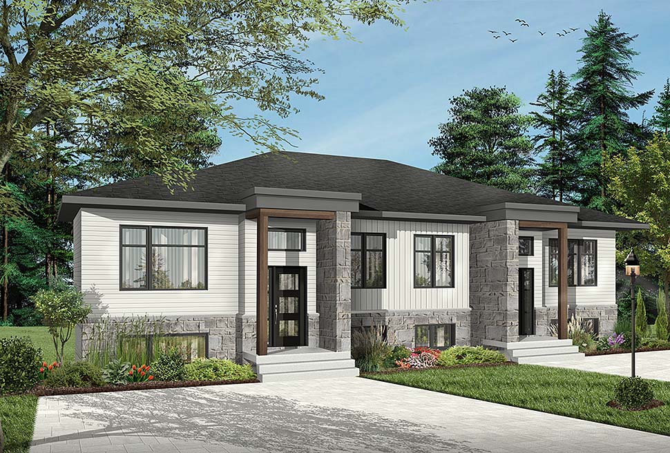 Contemporary, Modern Multi-Family Plan 76534 with 8 Beds, 4 Baths Elevation