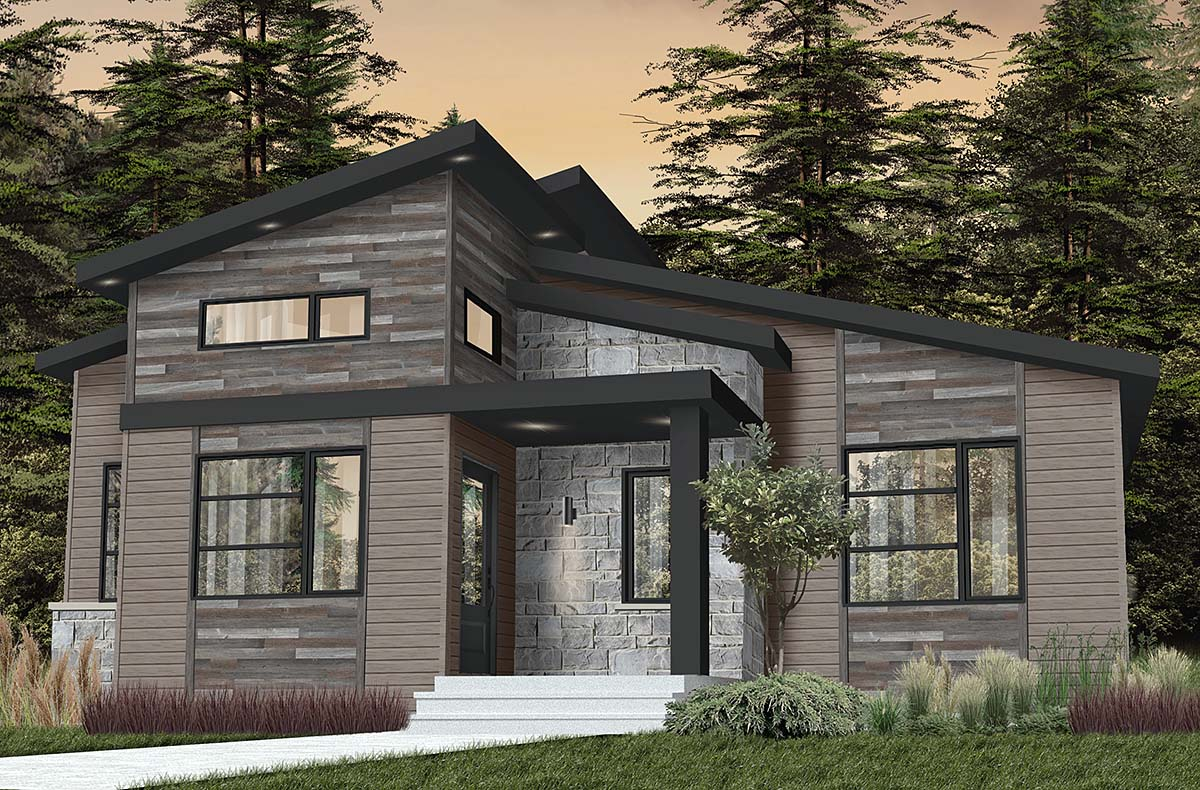 Contemporary, Country, Craftsman, Modern House Plan 76549 with 2 Beds, 1 Baths Elevation