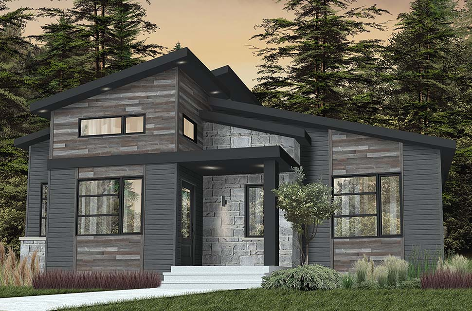 Contemporary, Country, Craftsman, Modern House Plan 76549 with 2 Beds, 1 Baths Picture 2