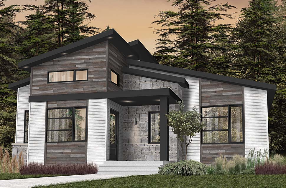 Contemporary, Country, Craftsman, Modern House Plan 76549 with 2 Beds, 1 Baths Picture 3