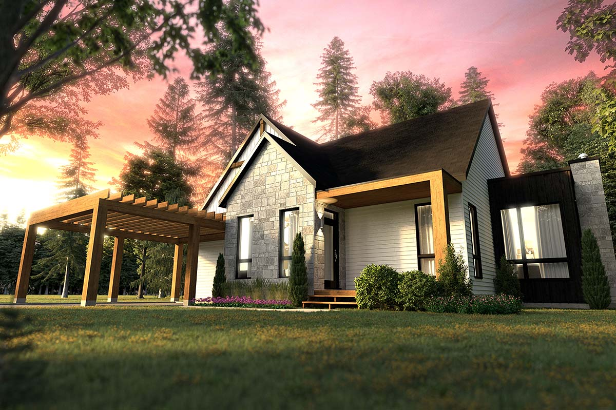 Cabin, Cottage, Craftsman, Ranch House Plan 76553 with 2 Beds, 2 Baths Picture 1