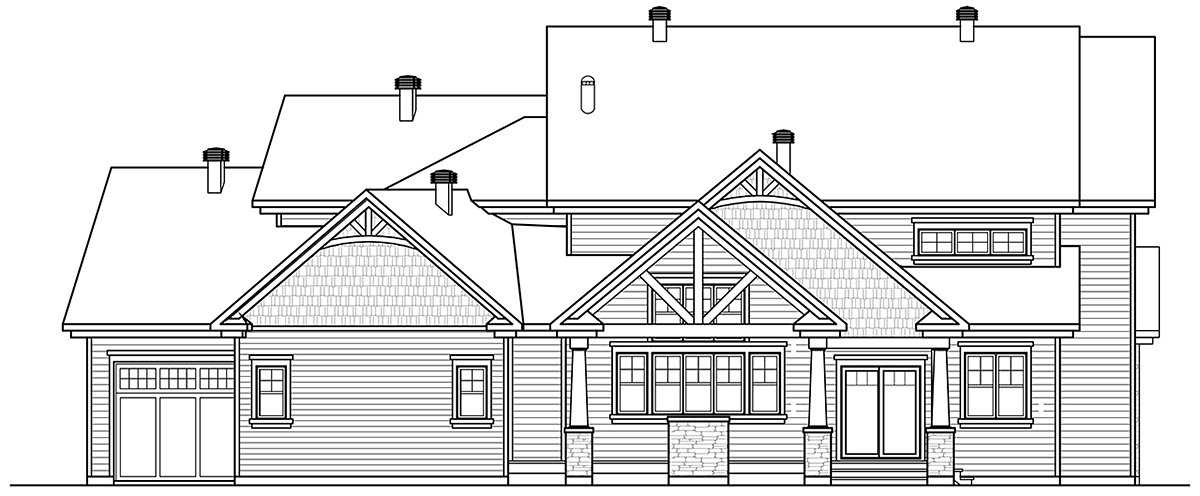 Craftsman, Traditional House Plan 76561 with 4 Beds, 3 Baths, 2 Car Garage Rear Elevation