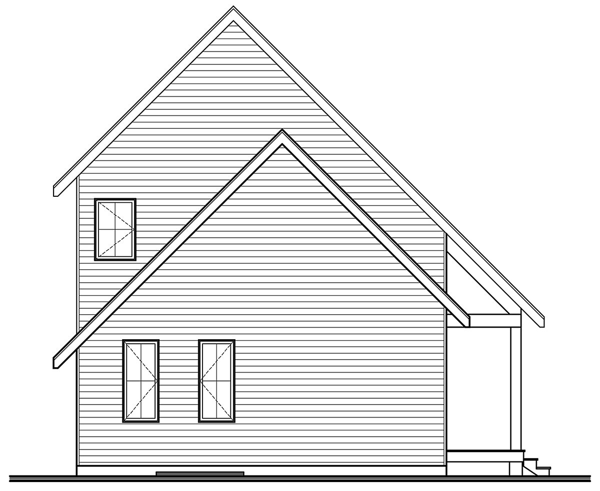 A-Frame, Cabin, Contemporary, Cottage House Plan 76562 with 3 Beds, 3 Baths Rear Elevation