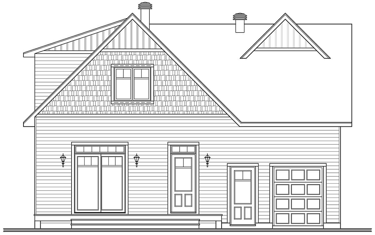 Cape Cod, Country, Farmhouse, Traditional House Plan 76563 with 3 Beds, 3 Baths, 1 Car Garage Rear Elevation