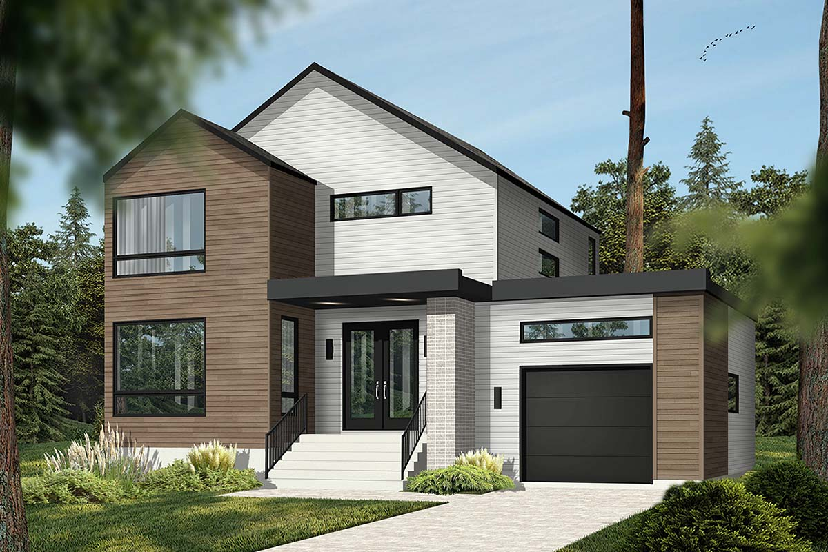 Modern House Plan 76564 with 3 Beds, 2 Baths, 1 Car Garage Picture 1