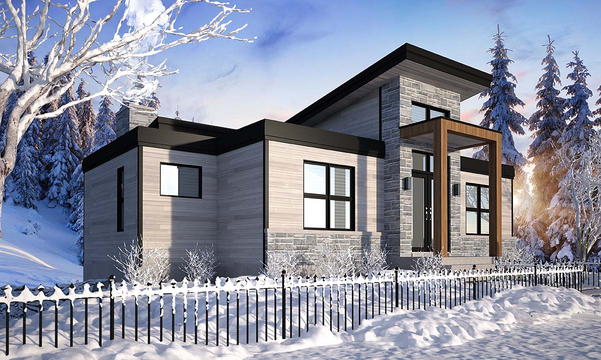 Cabin, Contemporary, Cottage, Modern House Plan 76571 with 4 Beds, 3 Baths Picture 2