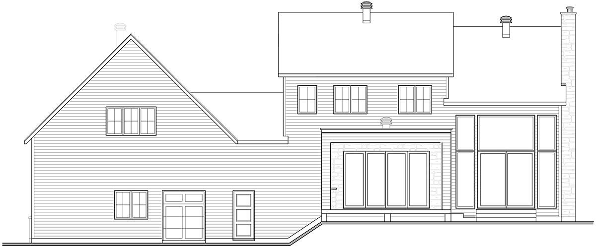 Craftsman, Farmhouse House Plan 76573 with 4 Beds, 3 Baths, 2 Car Garage Rear Elevation