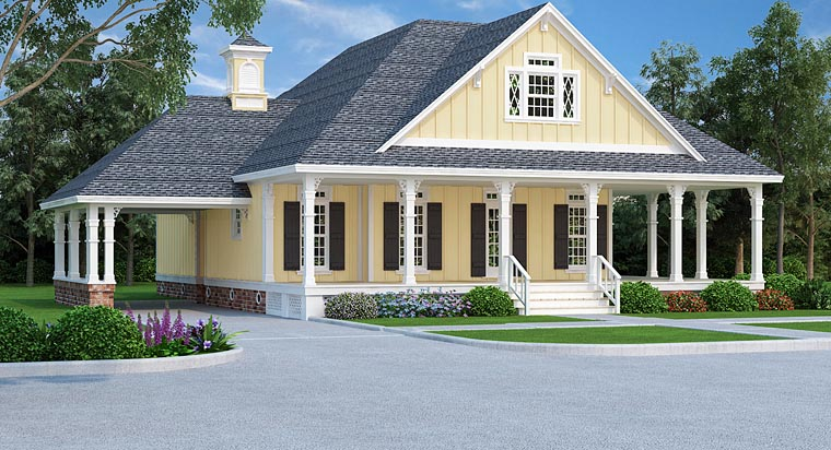 Country, Farmhouse, Traditional House Plan 76912 with 4 Beds, 3 Baths, 1 Car Garage Elevation