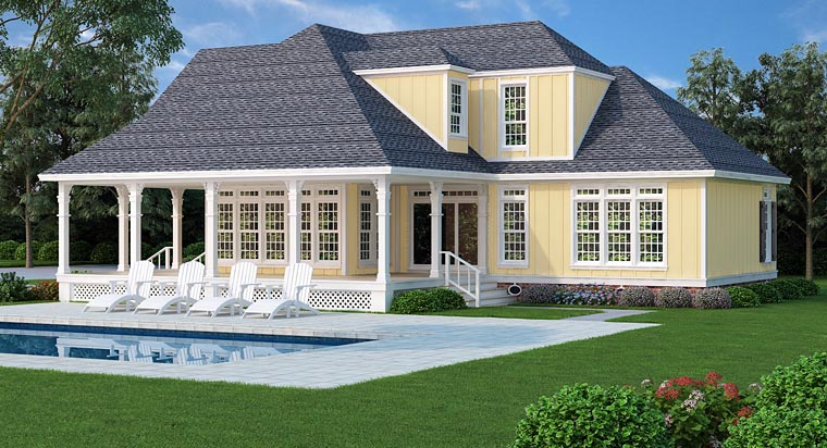 Country, Farmhouse, Traditional House Plan 76912 with 4 Beds, 3 Baths, 1 Car Garage Rear Elevation